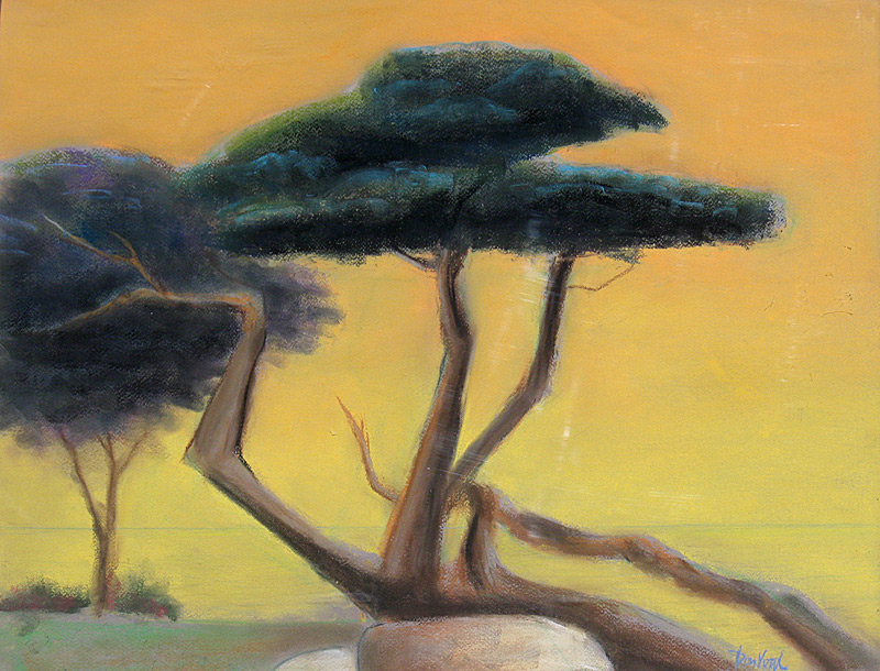 California Cypress California (landscapes, Pastel) - Fine Art by Donald G. Vogl, Fort Collins, Colorado