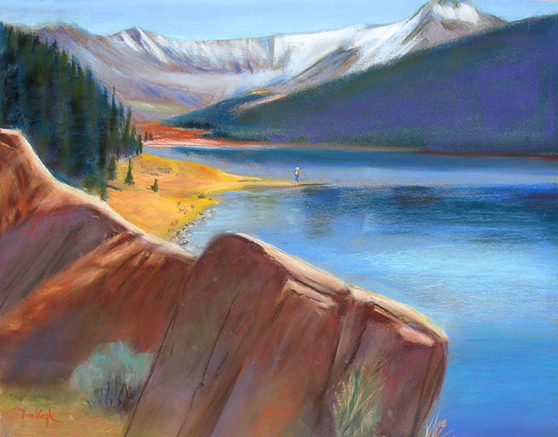 Camp Hale Pond south of Red Cliff, Colorado (landscapes, Pastel) - Fine Art by Donald G. Vogl, Fort Collins, Colorado