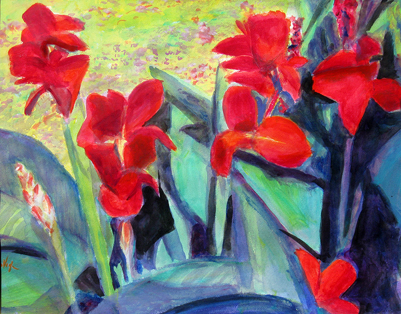 Canna Flowers, Trial Gardens Colorado State University, Fort Collins, Colorado (still-lifes, Watercolor) - Fine Art by Donald G. Vogl, Fort Collins, Colorado