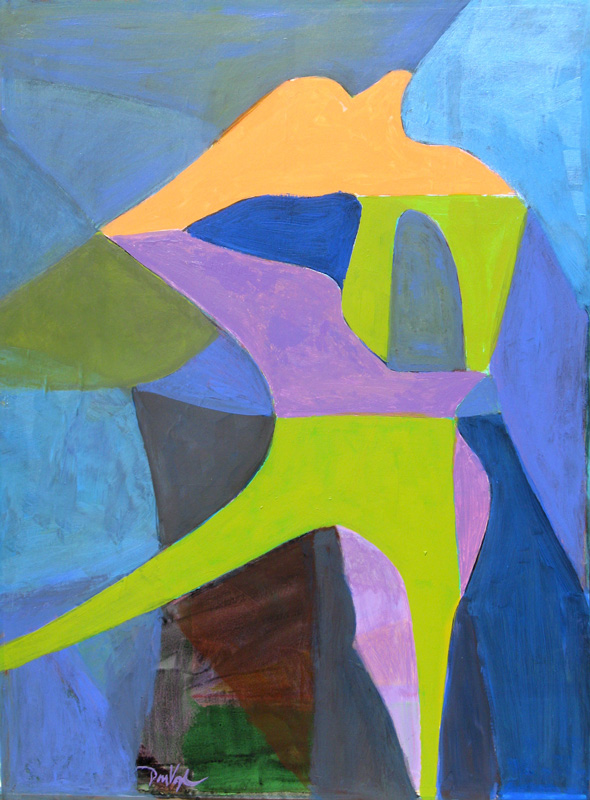 Carrier Pigeon  (abstracts figures, Acrylic) - Fine Art by Donald G. Vogl, Fort Collins, Colorado