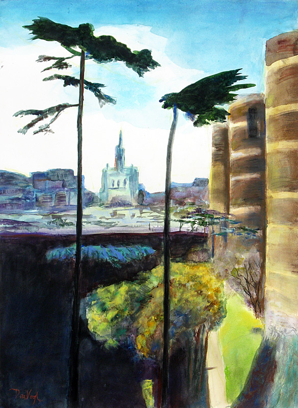 Chateau d'Angers Angers, France (landscapes, Watercolor and Pastel) - Fine Art by Donald G. Vogl, Fort Collins, Colorado