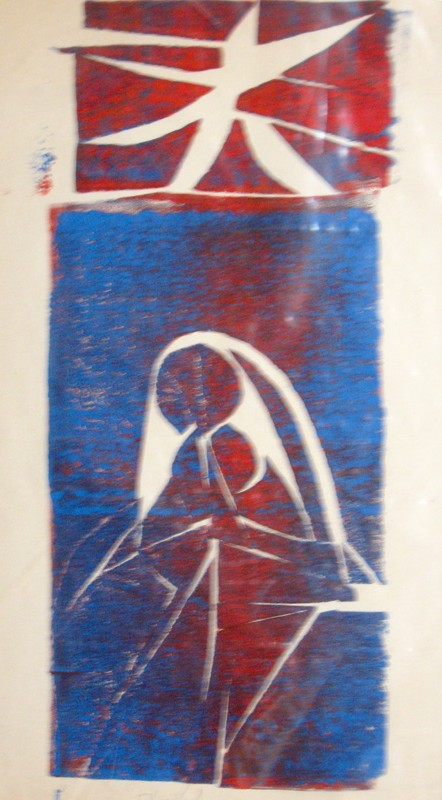 Christmas Card - Red and Blue  (christian abstracts, Woodcut) - Fine Art by Donald G. Vogl, Fort Collins, Colorado