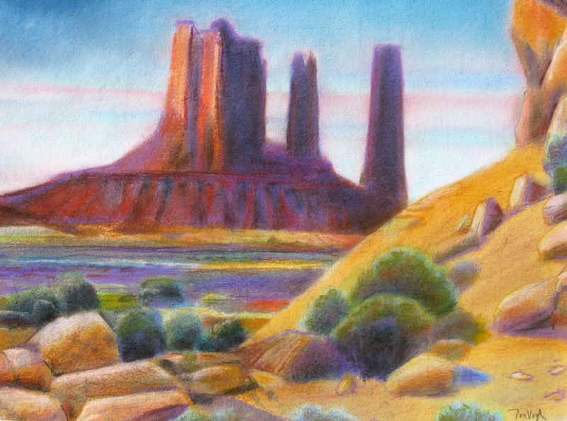 Cliff at Monument Valley Monument Valley, Arizona (landscapes, Pastel) - Fine Art by Donald G. Vogl, Fort Collins, Colorado
