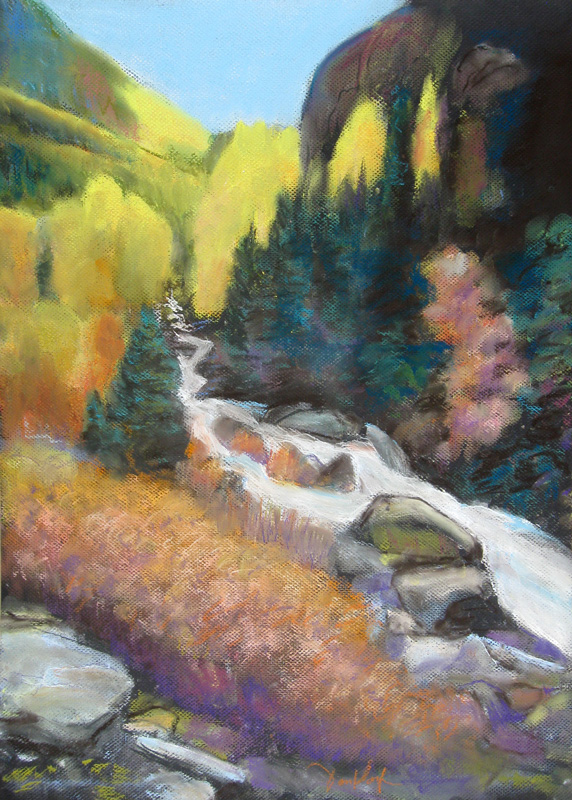 Colorado Mountain Stream Colorado (landscapes, Pastel) - Fine Art by Donald G. Vogl, Fort Collins, Colorado
