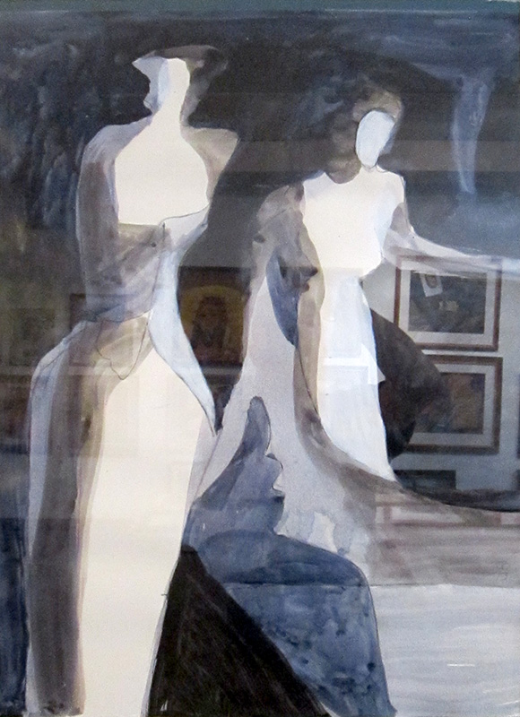 Curtain Call  (abstracts figures monochromes, Acrylic) - Fine Art by Donald G. Vogl, Fort Collins, Colorado