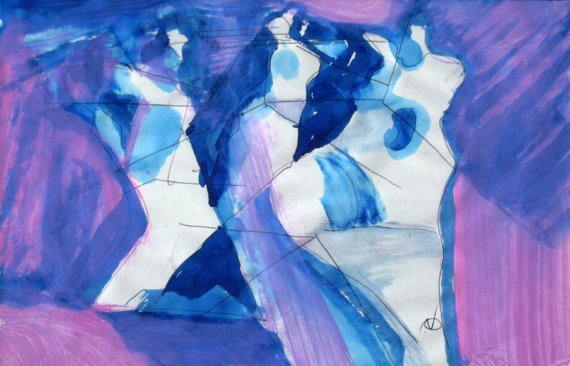 Dancers  (abstracts figures, Acrylic) - Fine Art by Donald G. Vogl, Fort Collins, Colorado