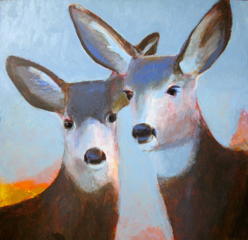 Deer Heads  (animals, Acrylic) - Fine Art by Donald G. Vogl, Fort Collins, Colorado