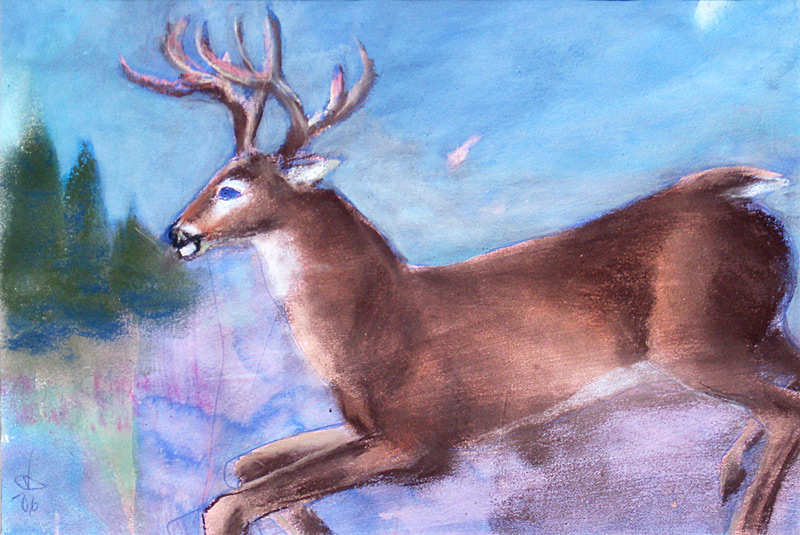 Deer Jumping  (animals, Pastel) - Fine Art by Donald G. Vogl, Fort Collins, Colorado
