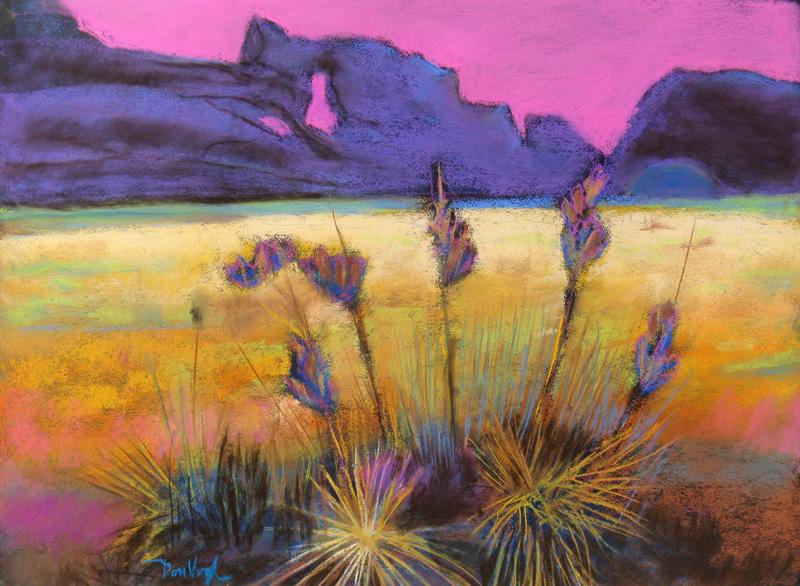Pink Sky Devil's Backbone trail, Colorado (landscapes, Pastel) - Fine Art by Donald G. Vogl, Fort Collins, Colorado