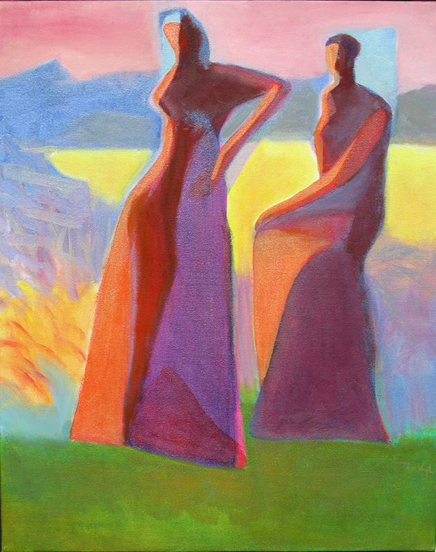 Faith and Hope  (abstracts figures, Oil) - Fine Art by Donald G. Vogl, Fort Collins, Colorado