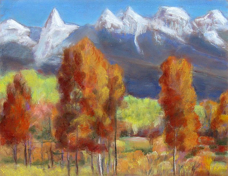 Fall Colors Tetons Grand Teton National Park, Wyoming (landscapes, Pastel) - Fine Art by Donald G. Vogl, Fort Collins, Colorado