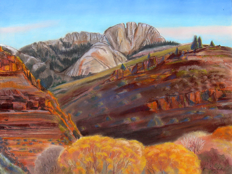 Fall View of Horsetooth Horsetooth Mountain, Fort Collins, Colorado (landscapes, Pastel) - Fine Art by Donald G. Vogl, Fort Collins, Colorado