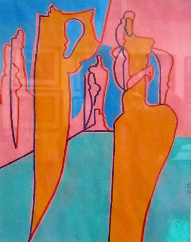 Fashion Models  (abstracts figures, Acrylic) - Fine Art by Donald G. Vogl, Fort Collins, Colorado