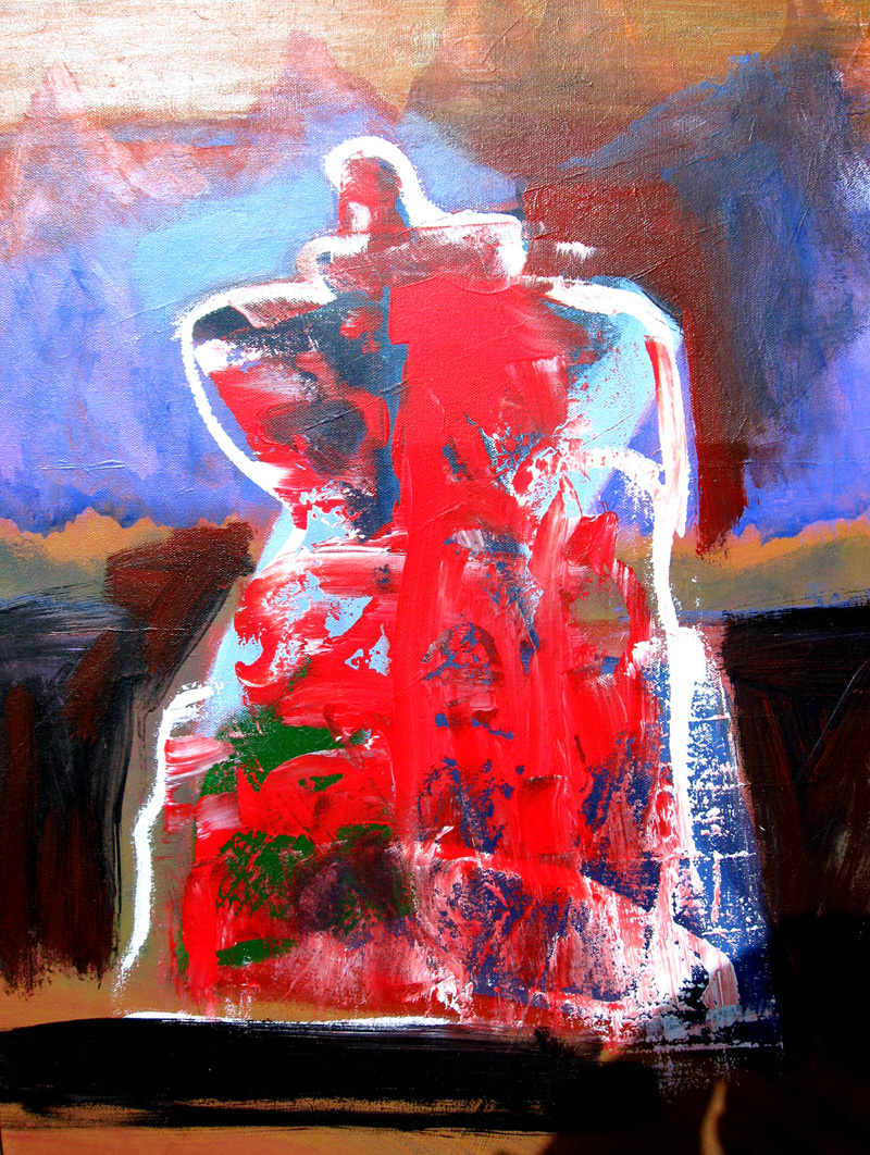 Fire Within  (abstracts figures, Oil) - Fine Art by Donald G. Vogl, Fort Collins, Colorado
