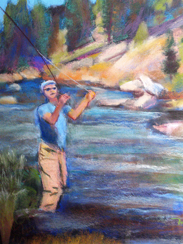 Fly Fishing Colorado (landscapes, Pastel) - Fine Art by Donald G. Vogl, Fort Collins, Colorado