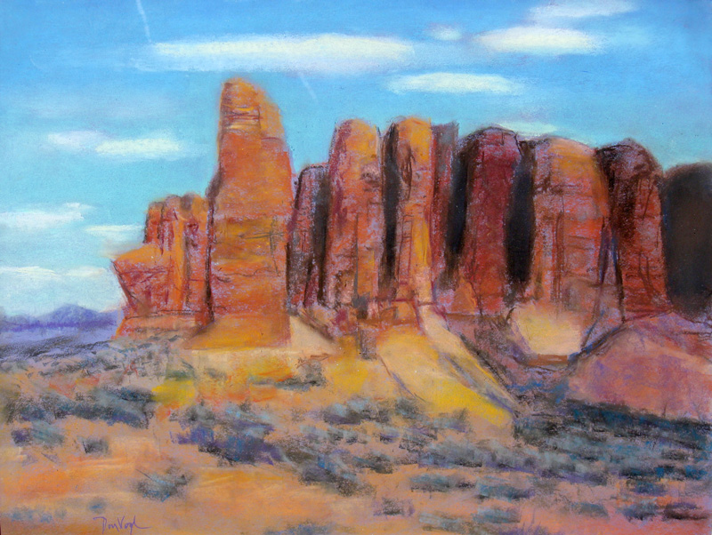 The Fortress Arches National Park, Utah (landscapes, Pastel) - Fine Art by Donald G. Vogl, Fort Collins, Colorado