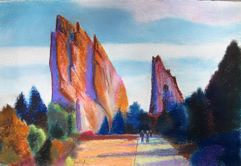 Garden of the Gods Colorado Springs, Colorado (landscapes, Pastel) - Fine Art by Donald G. Vogl, Fort Collins, Colorado