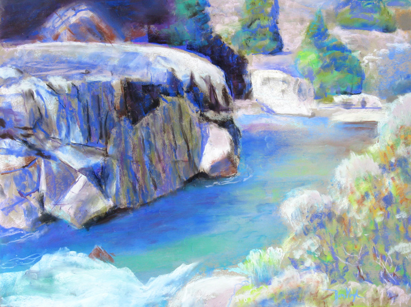 Glacial Stream Colorado (landscapes, Pastel) - Fine Art by Donald G. Vogl, Fort Collins, Colorado