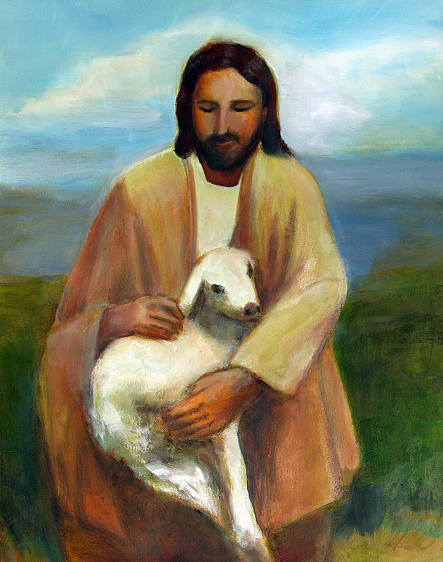 Good Shepherd  (portraits christian animals, Oil) - Fine Art by Donald G. Vogl, Fort Collins, Colorado