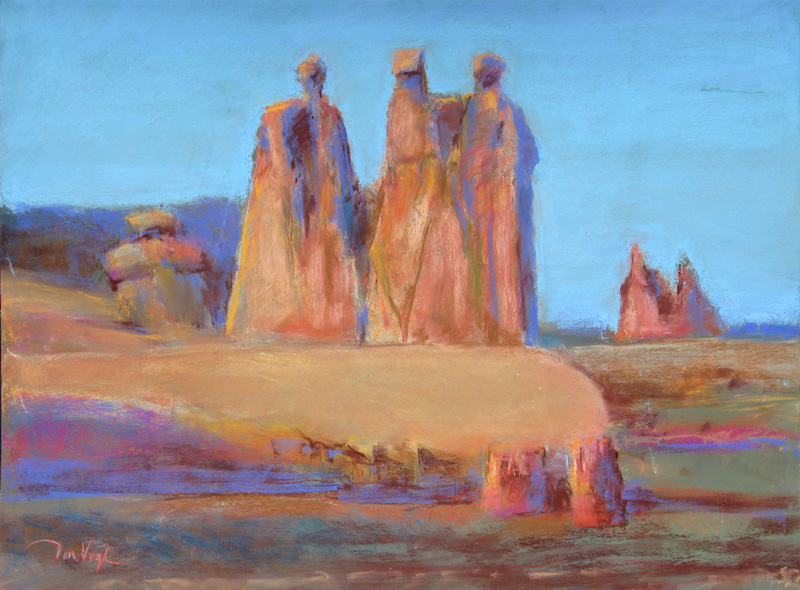 Gossips Arches National Park, Utah (landscapes, Pastel) - Fine Art by Donald G. Vogl, Fort Collins, Colorado