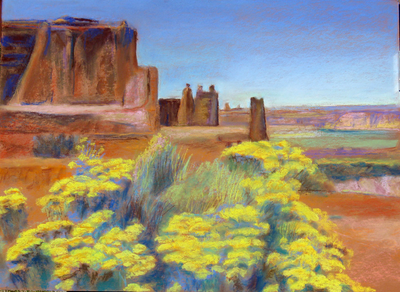 Three Gossips Arches National Park, Utah (landscapes, Pastel) - Fine Art by Donald G. Vogl, Fort Collins, Colorado
