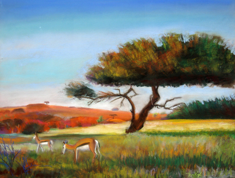 Grazing Springbok Namibia (landscapes animals, Pastel) - Fine Art by Donald G. Vogl, Fort Collins, Colorado