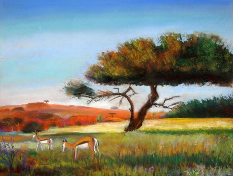 Grazing Springbok Namibia (landscapes animals, Pastel) - Fine Art by Donald G. Vogl, Fort Collins, Colorado