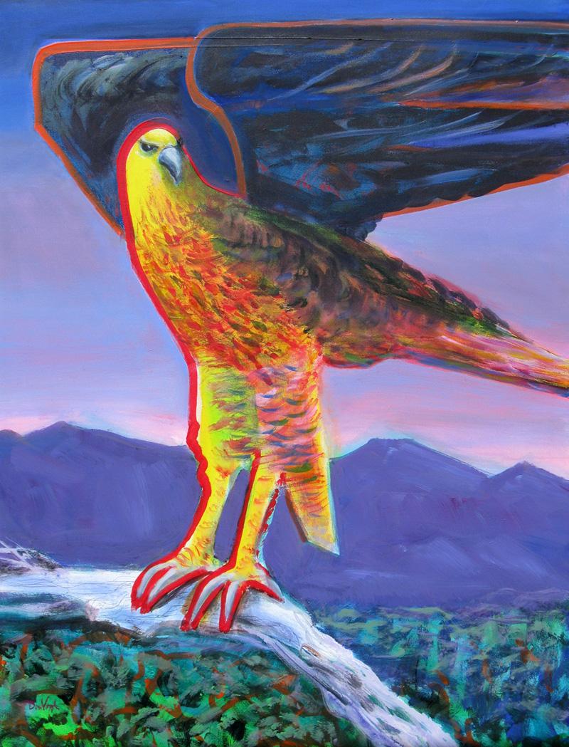 Hawk at Dusk  (figures animals, Acrylic) - Fine Art by Donald G. Vogl, Fort Collins, Colorado