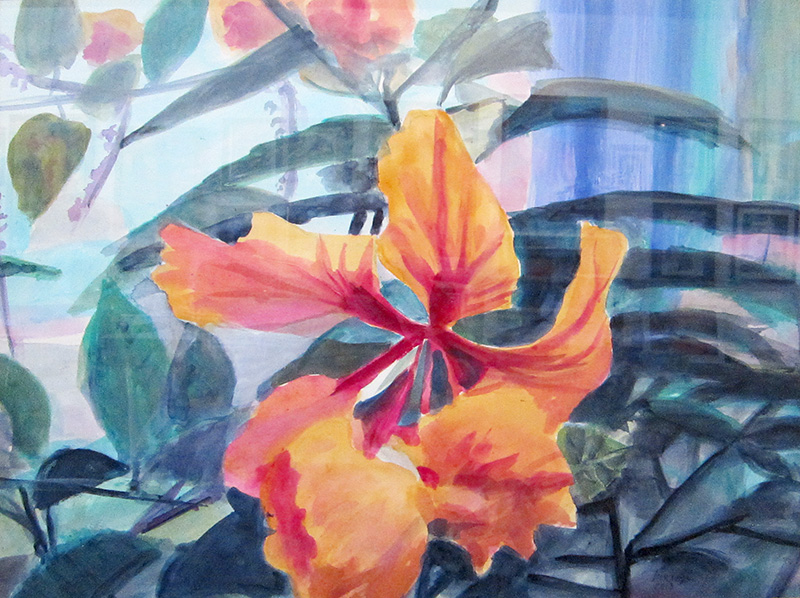 Hibiscus  (still-lifes, Acrylic) - Fine Art by Donald G. Vogl, Fort Collins, Colorado