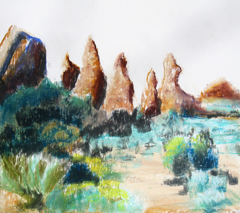 Five Hoodoos at Arches Arches National Park, Utah (landscapes, Pastel) - Fine Art by Donald G. Vogl, Fort Collins, Colorado