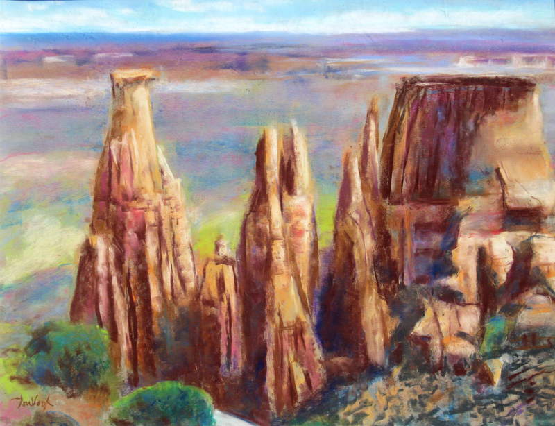 Hoodoos at Colorado Monument Colorado (landscapes, Pastel) - Fine Art by Donald G. Vogl, Fort Collins, Colorado