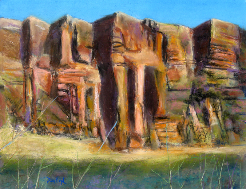 Horsetooth Cave Horsetooth Reservoir, Colorado (landscapes, Pastel) - Fine Art by Donald G. Vogl, Fort Collins, Colorado