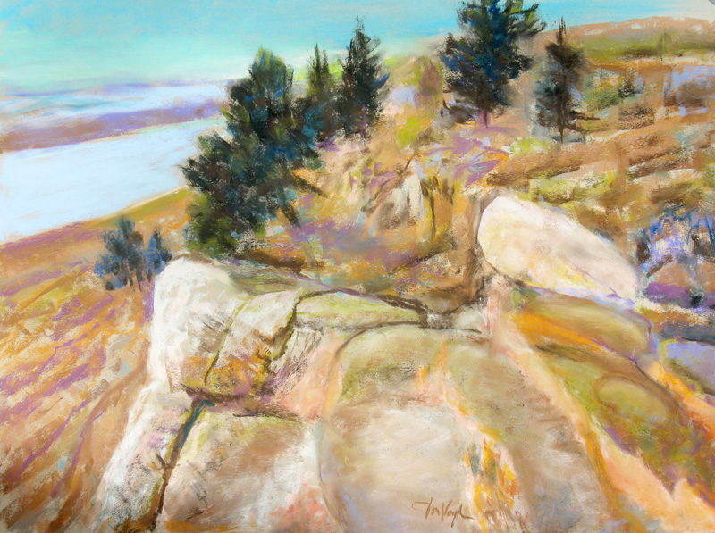 Golden View Horsetooth Reservoir, Colorado (landscapes, Pastel) - Fine Art by Donald G. Vogl, Fort Collins, Colorado
