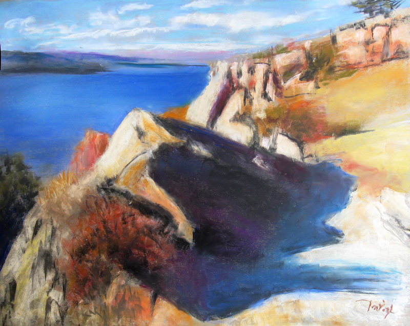 Horsetooth - 3 Rocks Horsetooth Reservoir, Colorado (landscapes, Pastel) - Fine Art by Donald G. Vogl, Fort Collins, Colorado