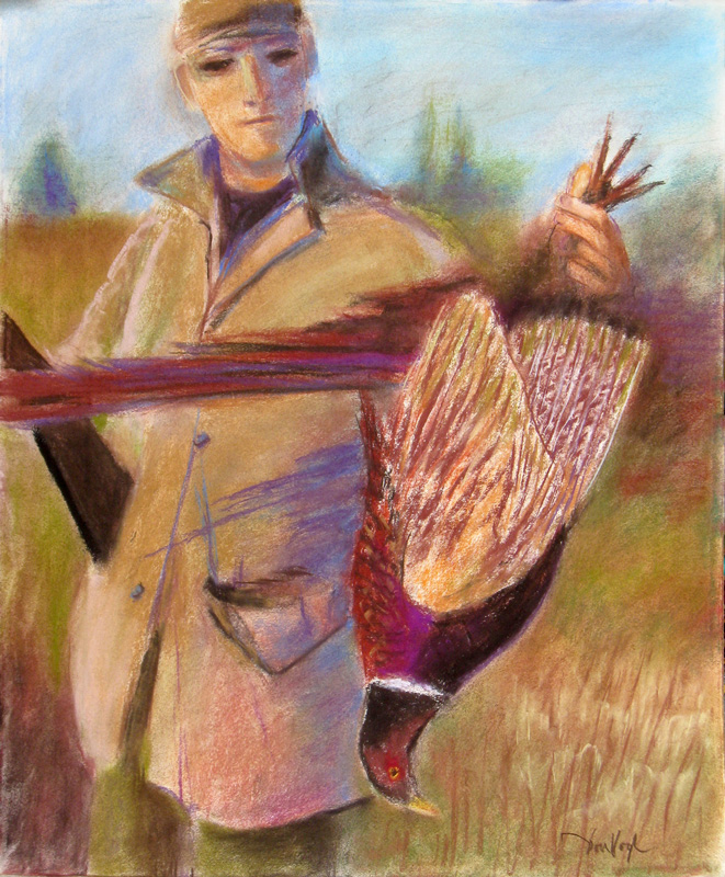 Pheasant Hunter  (portraits, Pastel) - Fine Art by Donald G. Vogl, Fort Collins, Colorado