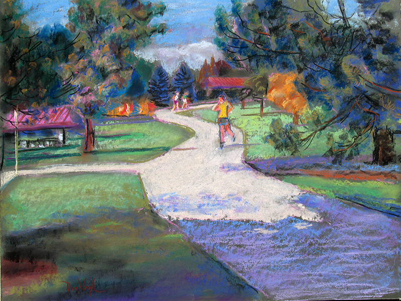 Inline Skater Colorado (landscapes, Pastel) - Fine Art by Donald G. Vogl, Fort Collins, Colorado