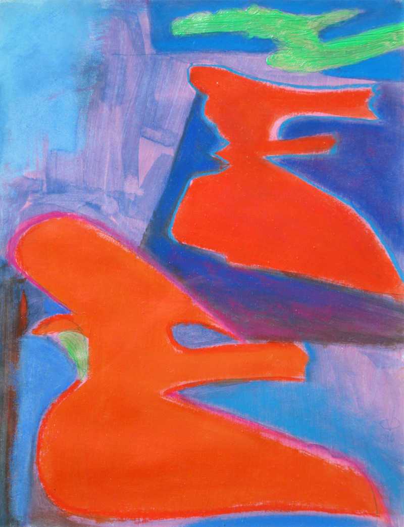 Landing  (abstracts figures, Acrylic) - Fine Art by Donald G. Vogl, Fort Collins, Colorado