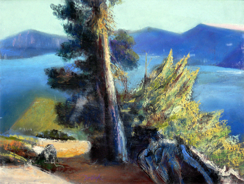 Leaning Tree Crater Lake, Oregon (landscapes, Pastel) - Fine Art by Donald G. Vogl, Fort Collins, Colorado