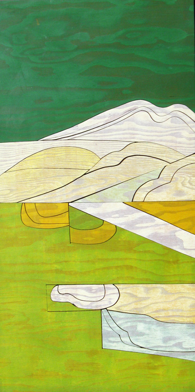 Listening Landscape  (abstracts, Woodcut (plywood)) - Fine Art by Donald G. Vogl, Fort Collins, Colorado