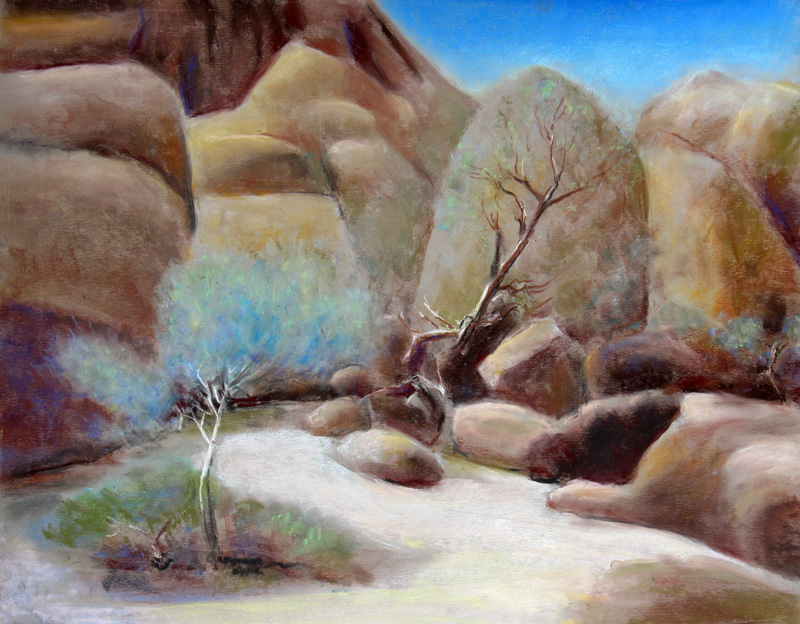 Lone Blue Tree Namibia (landscapes, Pastel) - Fine Art by Donald G. Vogl, Fort Collins, Colorado