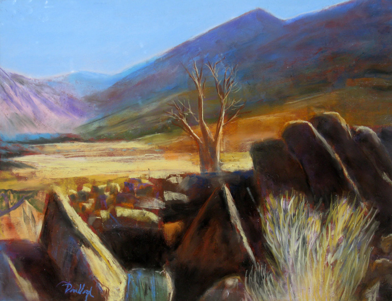 Lone Tree Namibia (landscapes, Pastel) - Fine Art by Donald G. Vogl, Fort Collins, Colorado