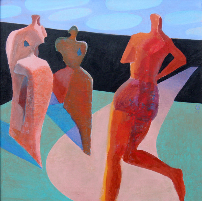 Long Distance Runner  (abstracts figures, Acrylic) - Fine Art by Donald G. Vogl, Fort Collins, Colorado