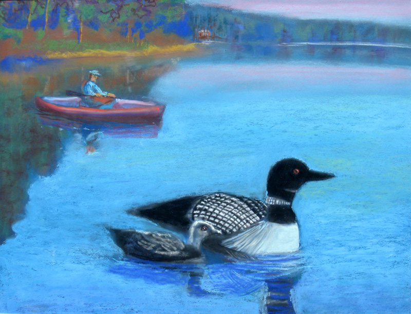 Loons Wisconsin (animals, Pastel) - Fine Art by Donald G. Vogl, Fort Collins, Colorado