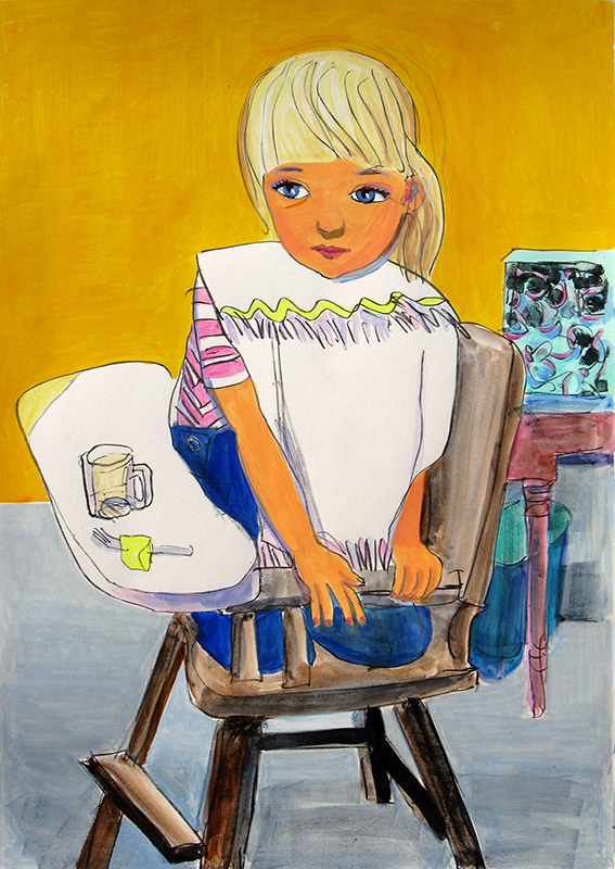 Mary in High Chair  (portraits, Lithograph) - Fine Art by Donald G. Vogl, Fort Collins, Colorado