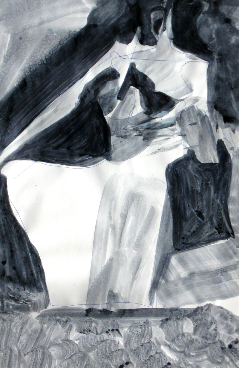 Maternity  (abstracts figures monochromes, Acrylic) - Fine Art by Donald G. Vogl, Fort Collins, Colorado