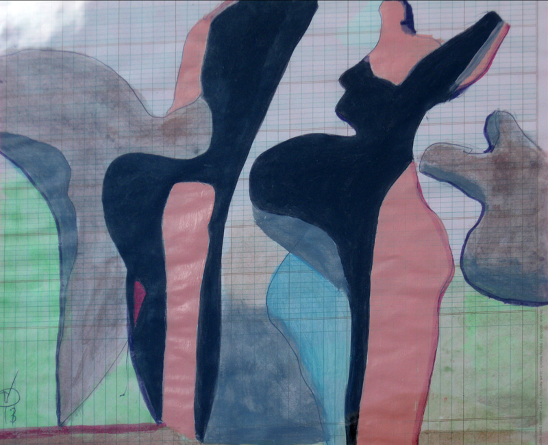 Michelin Couple  (abstracts figures, Acrylic) - Fine Art by Donald G. Vogl, Fort Collins, Colorado