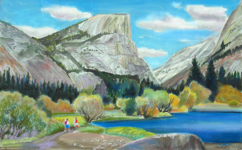 Mirror Lake Yosemite, California (landscapes, Watercolor) - Fine Art by Donald G. Vogl, Fort Collins, Colorado
