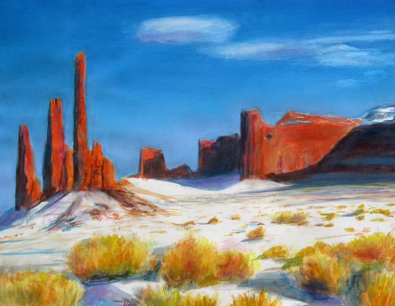 Monument Valley Arizona (landscapes, Pastel) - Fine Art by Donald G. Vogl, Fort Collins, Colorado