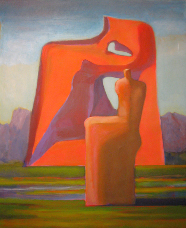 Monument  (abstracts figures, Acrylic) - Fine Art by Donald G. Vogl, Fort Collins, Colorado
