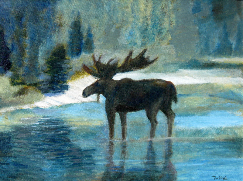 Moose  (animals landscapes, Oil) - Fine Art by Donald G. Vogl, Fort Collins, Colorado